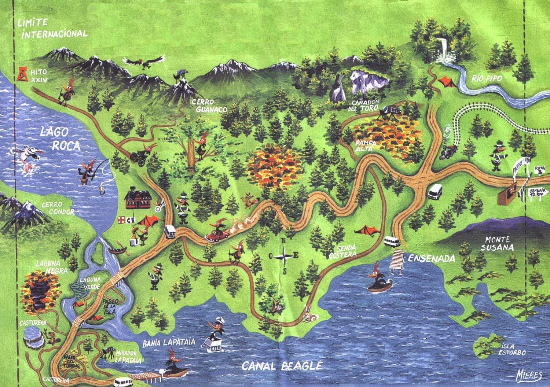 Mapa Parque Nacional Tierra del Fuego - Ushuaia